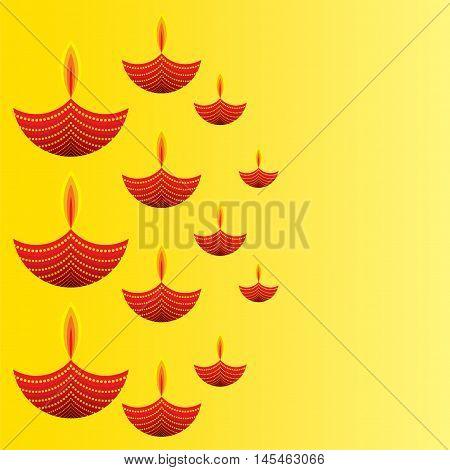 creative diwali greeting design with diyas pattern vector