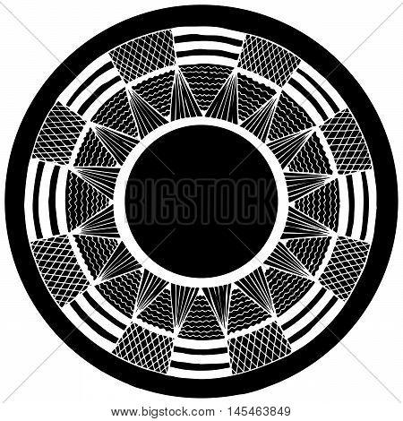 black abstract circle. vector. zentangl graphic arts