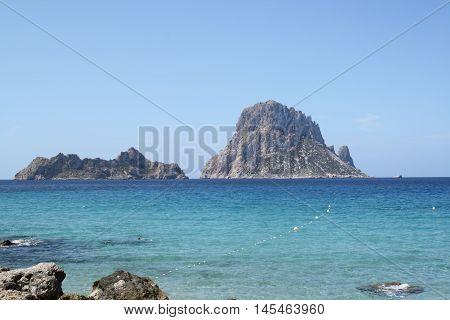 Ibiza island, Es vedra beach in Mediterranean sea