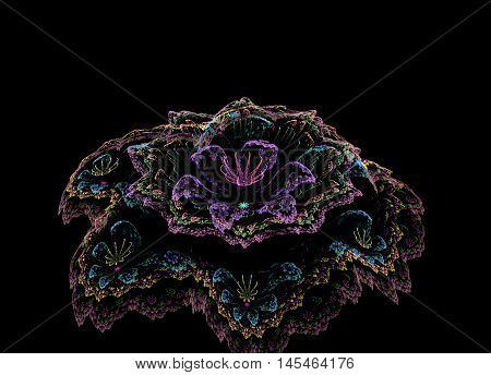 fractal flower on black background neon colors with drooping petals