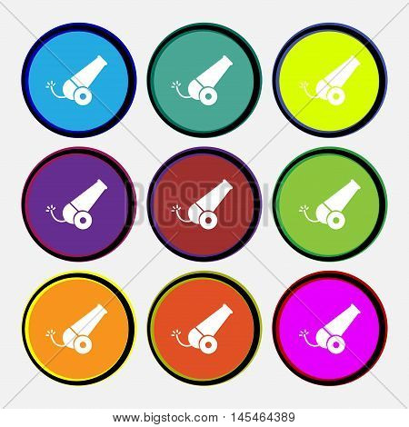 Cannon Icon Sign. Nine Multi Colored Round Buttons. Vector