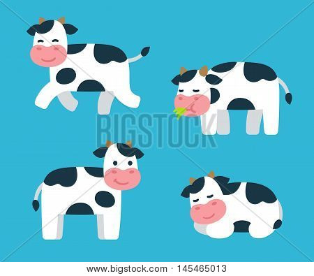 Cute cartoon isolated cow illustrations set. Standing running sleeping and eating grass. Adorable vector art.