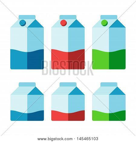 Milk cartons set isolated on white background. Different colors for whole low fat and skimmed milk. Vector illustration.