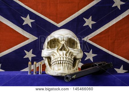 357 magnum revolver and tree bullets on blue with house fly on gun sight with confederate flag background and skull