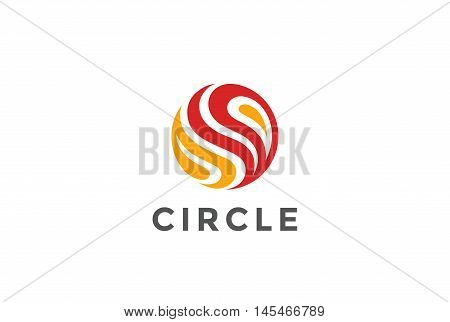Circle Fire flame abstract Logo design vector. Sphere icon