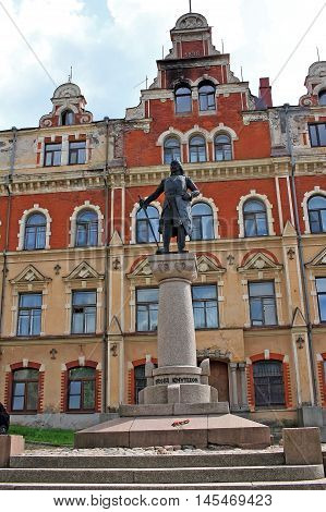 Vyborg Russia - 19 July 2016: Monument to Torgils Knutsson near the building of the Old town hall. Torgils Knutsson was constable privy council and virtual ruler of Sweden during the early reign of King Birger Magnusson (1280-1321).