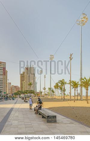 FORTALEZA, BRAZIL, DECEMBER - 2015 - Cityscape scene at walkway and beach surrounded by modern buildings in Fortaleza Brazil