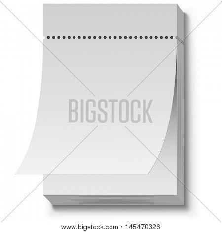 Blank white tear off wall calendar vector template.