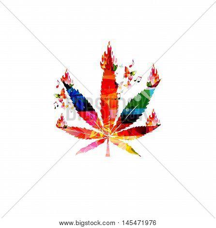 Creative marijuana leaf  with fire flames vector illustration, colorful cannabis foliage background, hemp plant template, alternative herbal medicine, medical marijuana and cannabis legalization