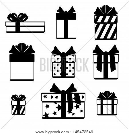 Gift boxes with ribbon bows icons set isolated over white. Gift icon with bow ribbon. Vector illustration