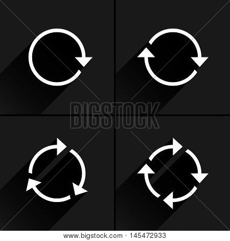 4 white arrow loop, refresh, reload, rotation icon. Volume 01. Flat icon with black long shadow on gray background. Simple, solid, plain, minimal style. Vector illustration web design elements 8 eps