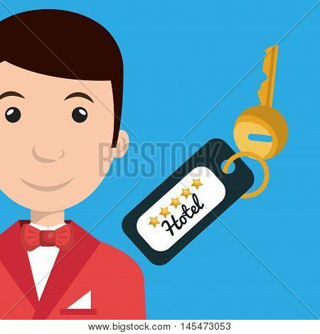 bellman hotel employee icon vector illustration design