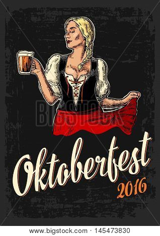 Poster to oktoberfest festival. Young sexy woman wearing a traditional Bavarian dress dirndl dancing and holding beer mug. Vintage color vector engraving illustration isolated on dark background.