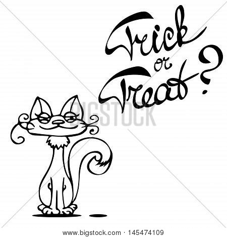 Laconic Halloween card with a cute cat and hand drawn lettering