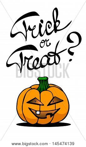 Laconic Halloween card with a pumpkin lantern and hand drawn lettering
