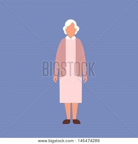 Senior Lady Grandmother Full Length Granny Flat Vector Illustration