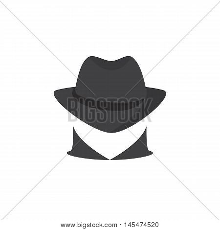 Picture of a secret agent. Spy logo. Silhouette of a unknown man in a dark hat. Incognita. computer hacker on a white background