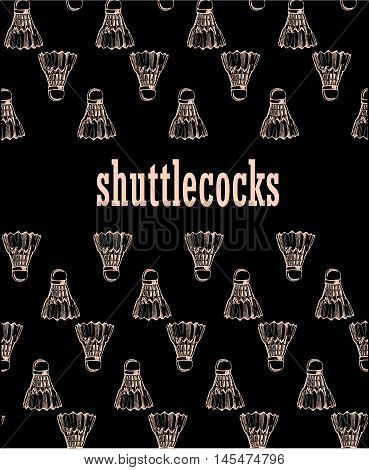 shuttlecocks in sketch style. Badminton shuttlecocks line icon, thin contour on white background.