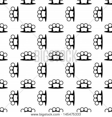 Metal Knuckles Silhouette Seamless Pattern on White.