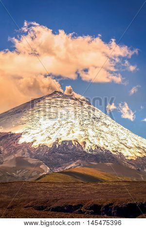 Amazing View With Gas Eruption Of Cotopaxi Volcano Ecuador South America