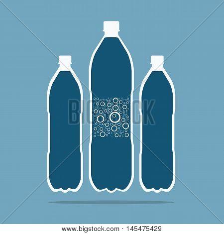Plastic Bottle. Bottle of water. Vector poster.