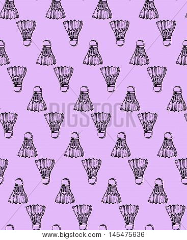 pattern. crimson shuttlecocks shuttlecocks in sketch style.