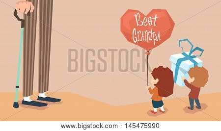 Small Boy Girl Give Present Balloon Grandfather Long Legs Grandparents Day Holiday Grandchildren Greeting Vector Illustration