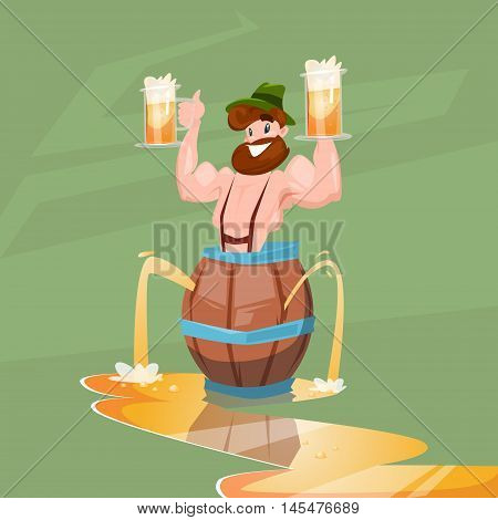 Drunk Man Patric With Beer Mug Oktoberfest Festival Banner Flat Vector Illustration