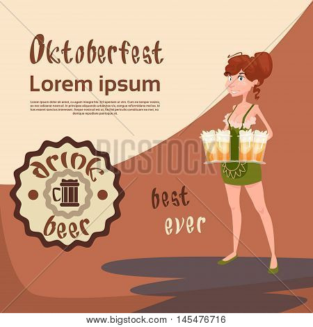 Oktoberfest Festival Girl Waitress Hold Beer Mug Glasses Vector Illustration