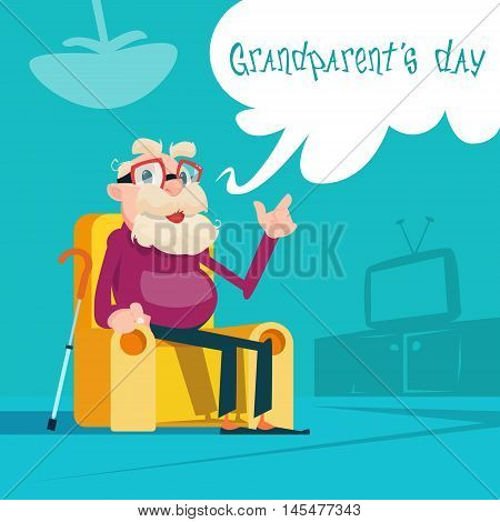 Grandfather Sitting In Rocking Chair Best Grandpa Grandparents Day Greeting Card Flat Vector Illustration