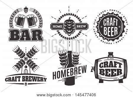 Vector vintage craft beer logo. bar labels, emblems and design elements