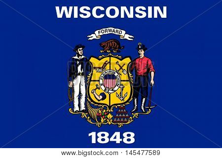 Flag of Wisconsin in the north-central United States.