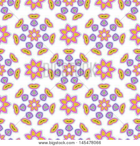 Abstract vector seamless pattern. Delicate pastel colors and stylized floral motifs for printing on fabric wrapping paper and children's product.