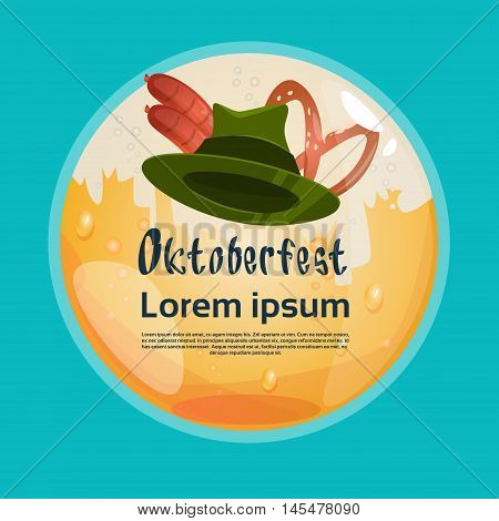 Green Patric Hat With Sausage Pretzel Oktoberfest Festival Banner Flat Vector Illustration