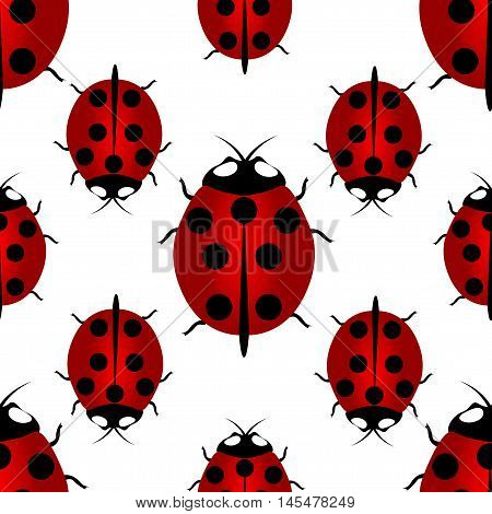 Red ladybird with seven points on the back - for happiness, seamless pattern. Ladybird endless pattern. Vector illustration