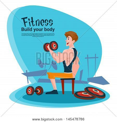 Sport Fitness Man Barbell Exercise Workout Gym Flat Vector Illustration