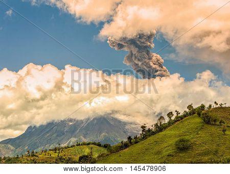 Pyroclastic Explosion Over Tungurahua Volcano Ecuador South America