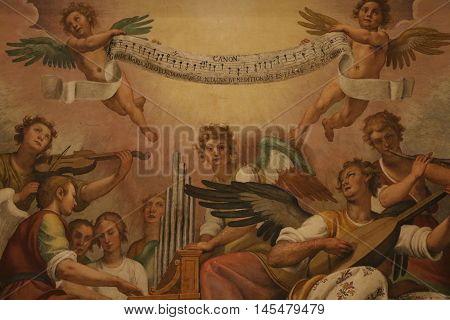 Decorative painting in the Papal Basilica of Saint Mary Major in Rome