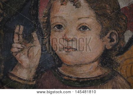 Detail of a religious painting in the Capitoline museums in Rome