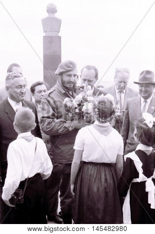 Yangiyer Uzbekistan - May 10 1963: Fidel and Pioneers.