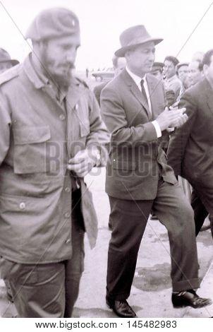 Yangiyer Uzbekistan - May 10 1963: Fidel Castro and Sharaf Rashidov.