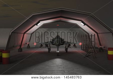 a military hangar with jet fighter in the night(3d rendering)