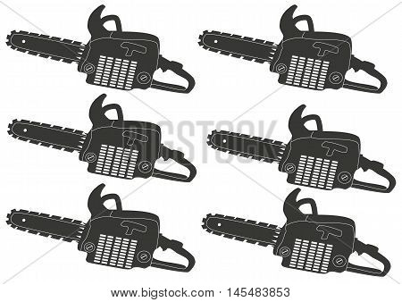 cutting  ,tool, gray chainsaw - vector image