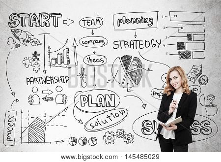 Girl with notebook standing near concrete wall with startup sketch on it. Concept of brainstorming and finding new original ideas for business development