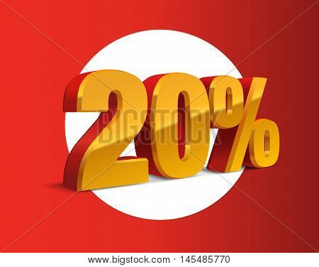 20% percent off, sale background, red-golden-yellow object 3D. Eps10 Vector.