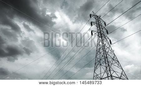 Electricity pylon / Electricity pole with after rain sky / High voltage electric tower with beautiful sky background after the rain / high voltage post.