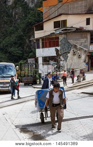 Workers Delivering Supplies By Hand