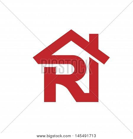 Letter R realtor real estate logo, letter R with roofing logo