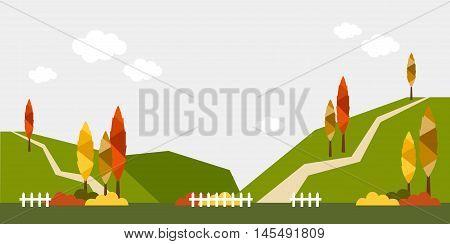 flat background-mountain tree fence sky fall autumn hill