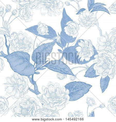 Vector illustration floral seamless pattern. Branches leaves and flowers of Chinese plum. Blue flowers on white background. The national flower of China. The design for paper fabrics.